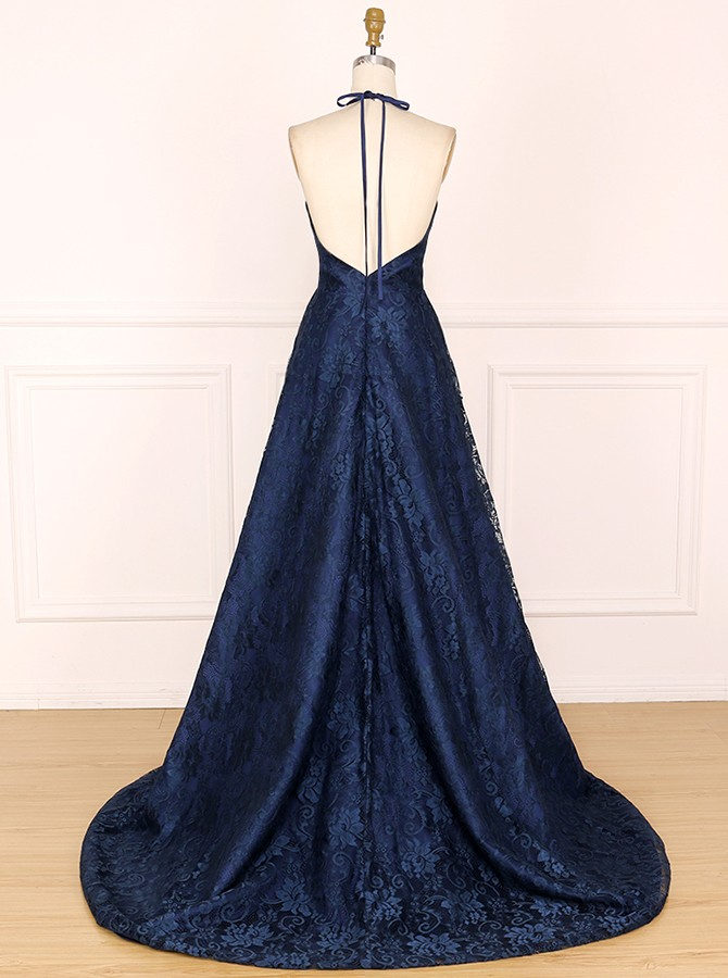 Elegant Halter Sleeveless Split Navy Blue Lace Sweep Train Prom Evening Dress