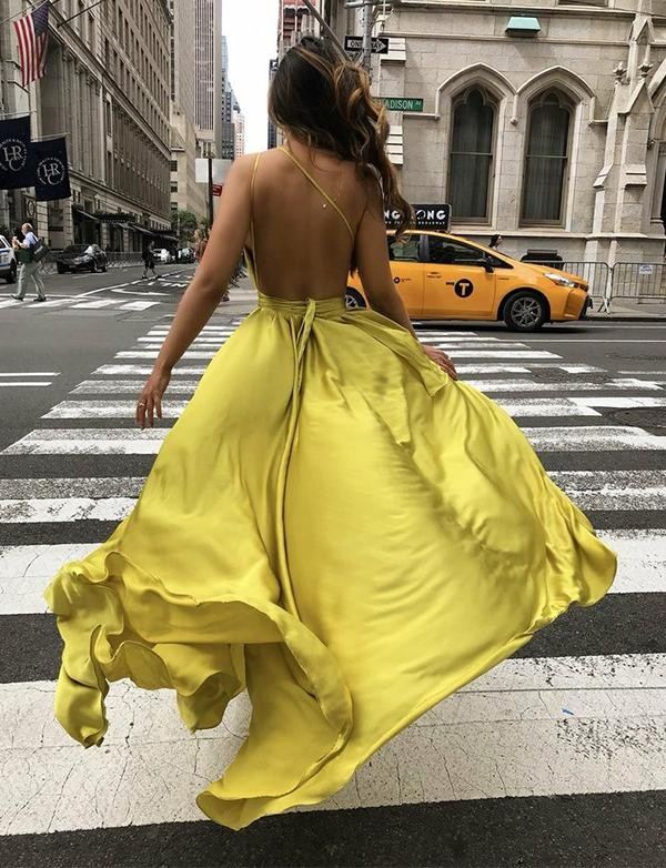 One Shoulder Yellow Long Prom Dresses Backless Formal Evening Dresses