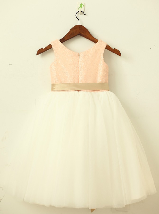 A-Line Round Neck White Flower Girl Dress with Lace Sequins Sash