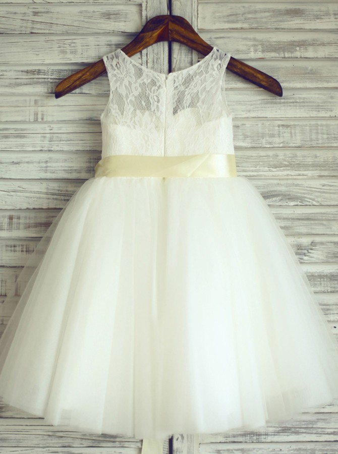 A-Line Round Neck White Flower Girl Dress with Lace Sash