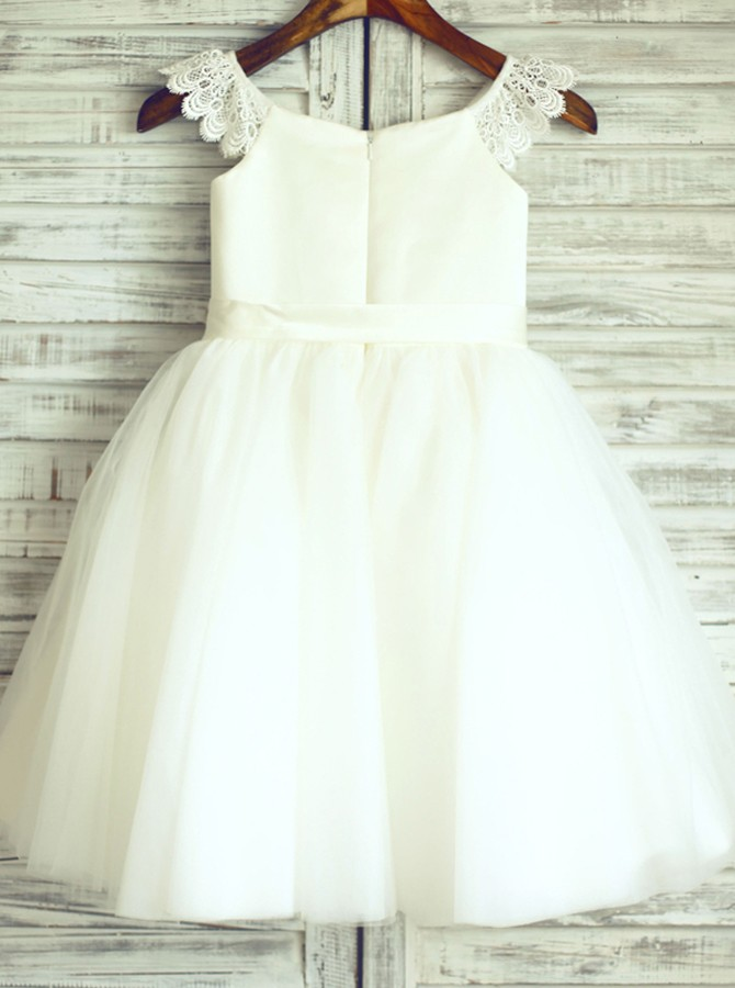 A-Line Round Neck White Flower Girl Dress with Sash Lace