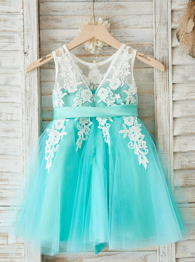 A-Line Round Neck Mint Tulle Flower Girl Dress with Appliques