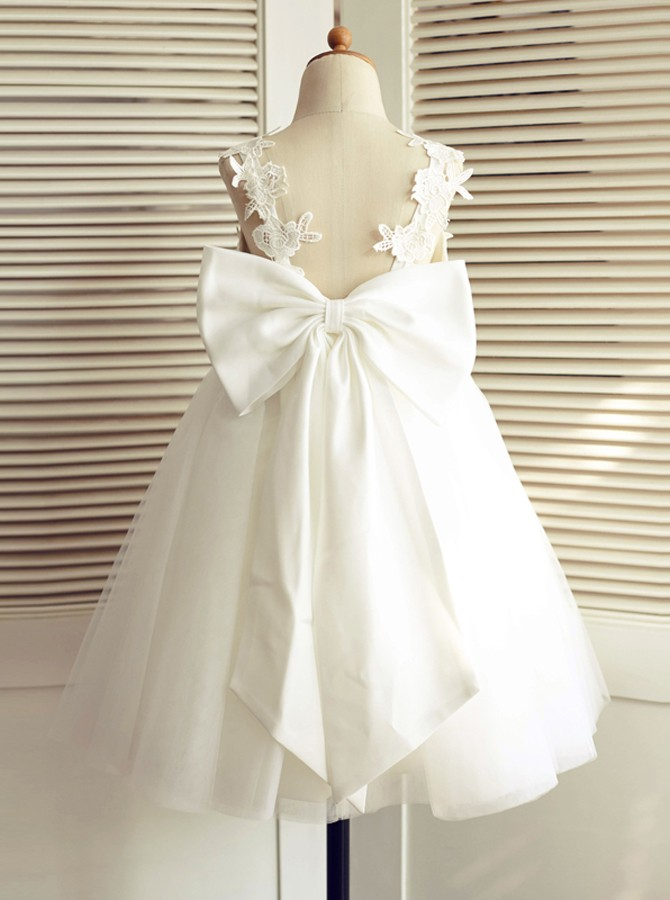 A-Line V-Neck Backless White Flower Girl Dress with Appliques Bowknot