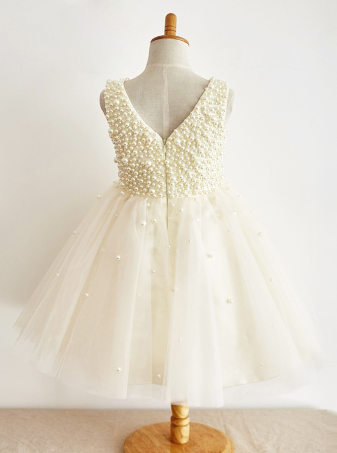 A-Line V-Neck Floor-Length Ivory Tulle Flower Girl Dress with Pearls