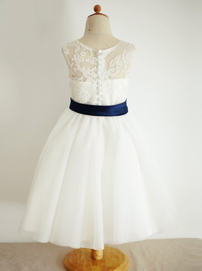 A-Line Round Neck White Flower Girl Dress with Appliques Sash