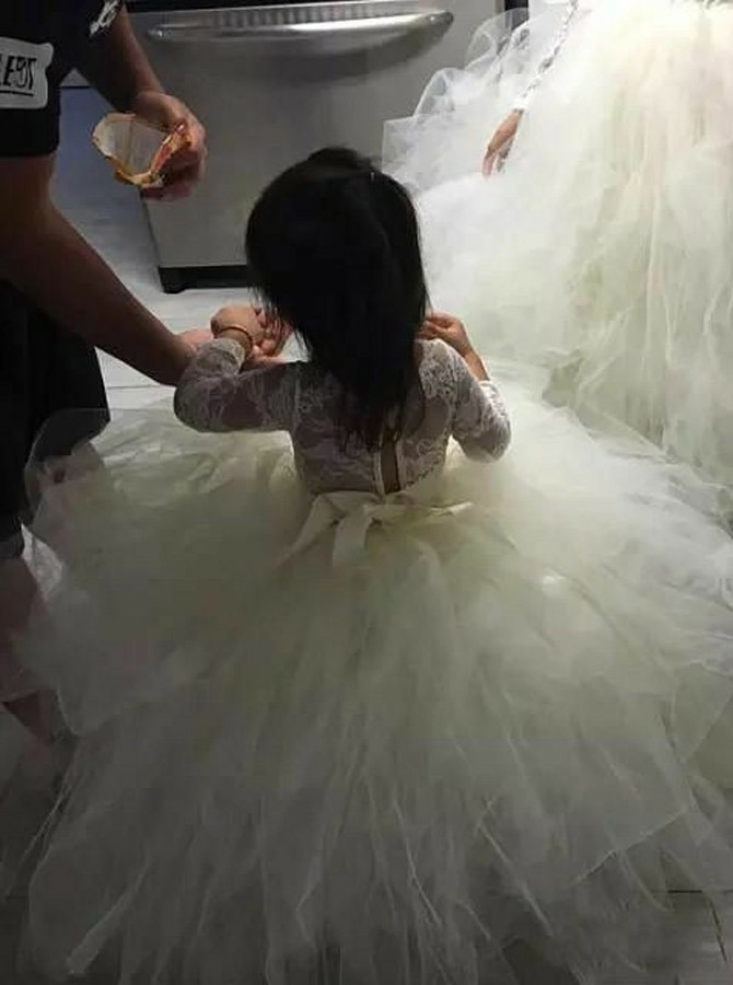 Ball Gown Bateau Long Sleeves Tulle Flower Girl Dress with Lace