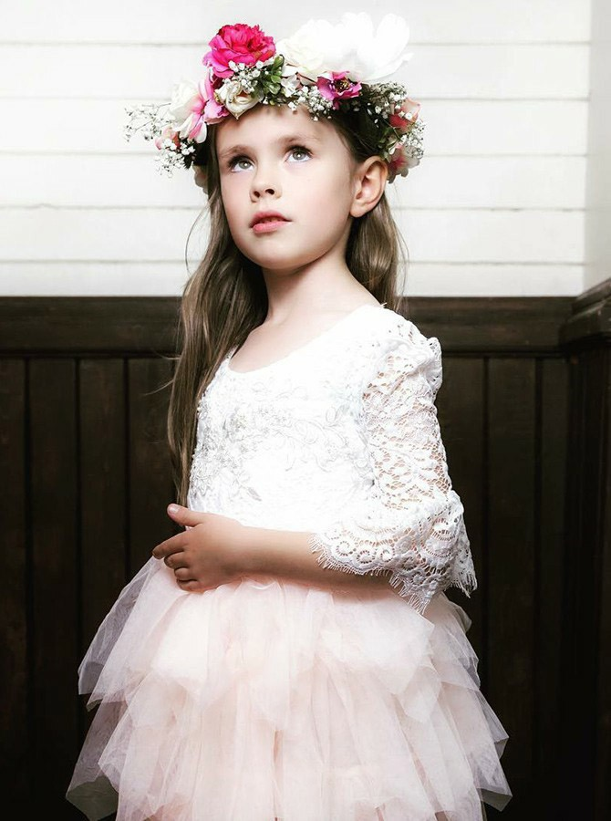 A-Line Round Neck Knee-Length 3/4 Sleeves Flower Girl Dress with Lace Tiered