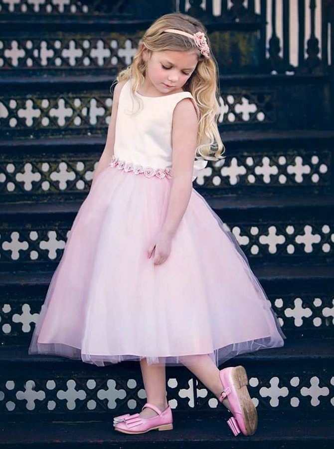 A-Line Round Neck Long Pink Flower Girl Dress with Appliques