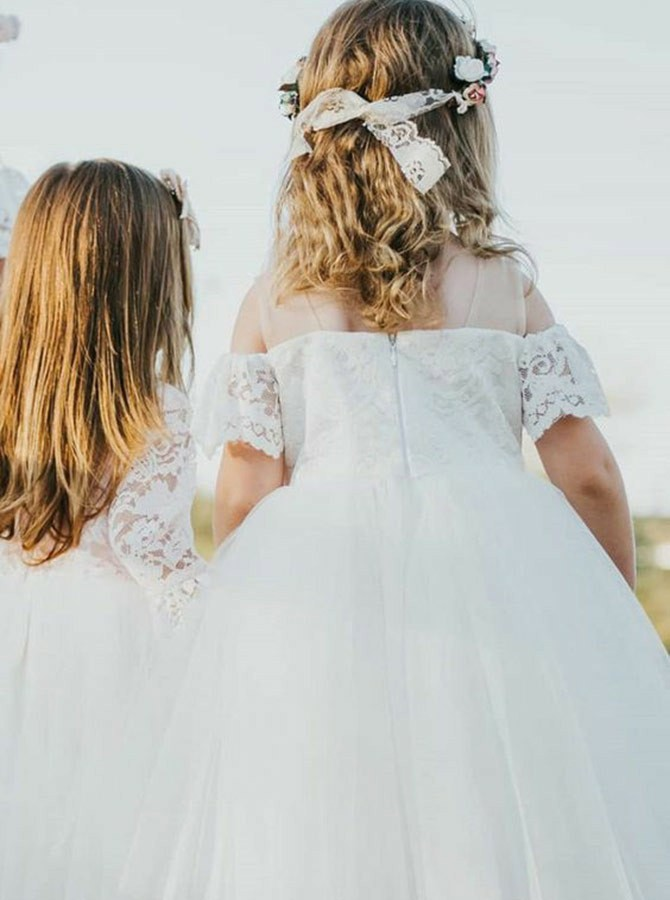 Ball Gown Cold Shoulder White Short Sleeves Flower Girl Dress with Lace