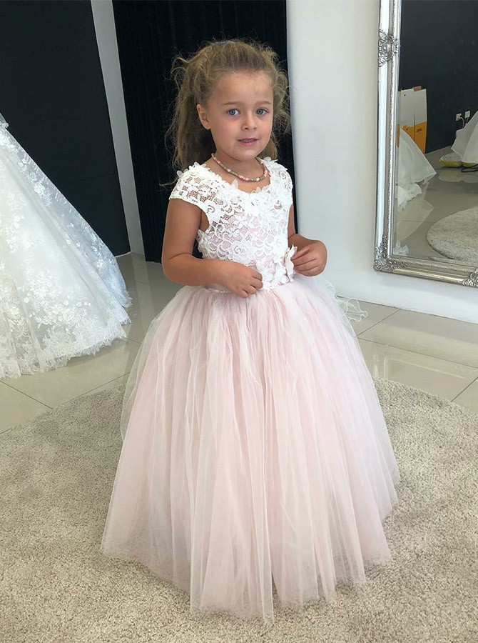 A-Line Round Neck Floor-Length Pearl Pink Flower Girl Dress with Lace
