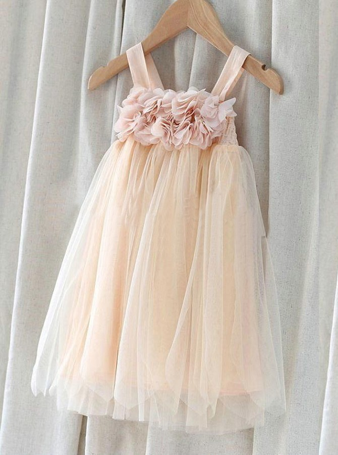 A-line Straps Blush Tulle Flower Girl Dress with Flowers
