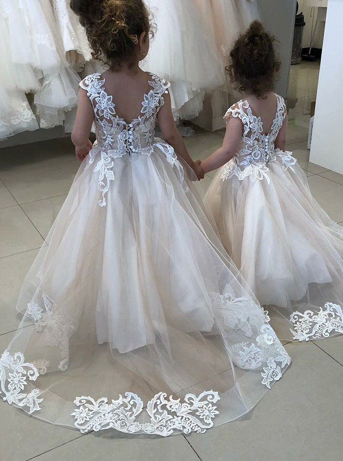 20a86d177aa ... A-Line Round Neck Sweep Train Ivory Flower Girl Dress with Appliques