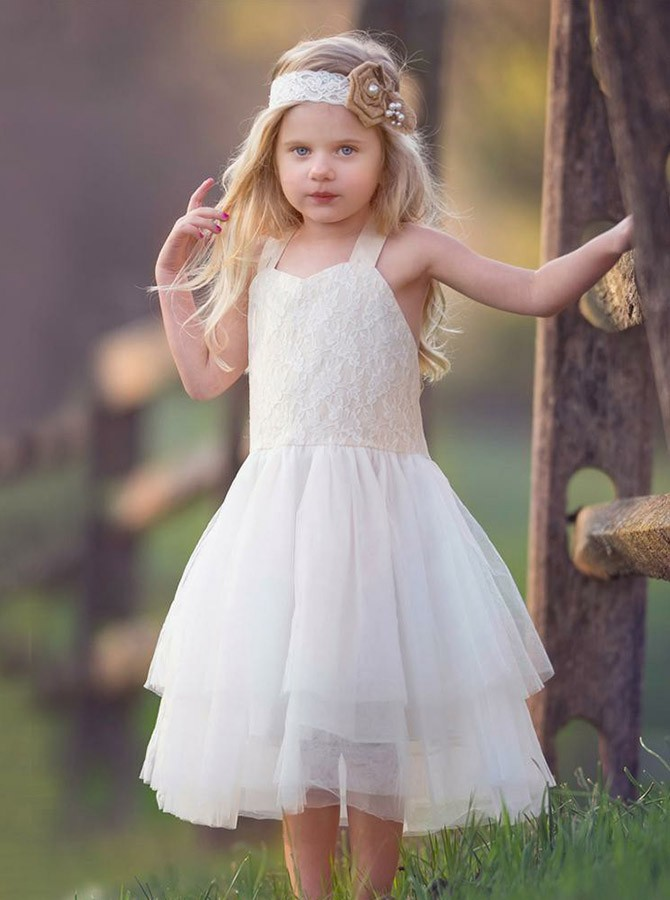 A-Line Straps Mid-Calf White Tulle Flower Girl Dress with Lace