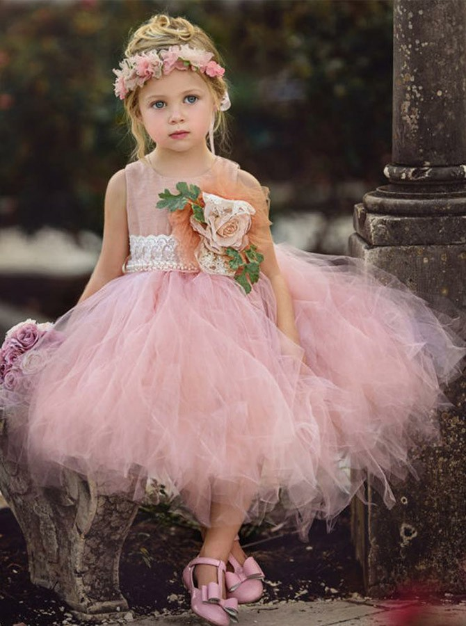 Ball Gown Scoop Knee-Length Flower Girl Dress with Lace Flowers