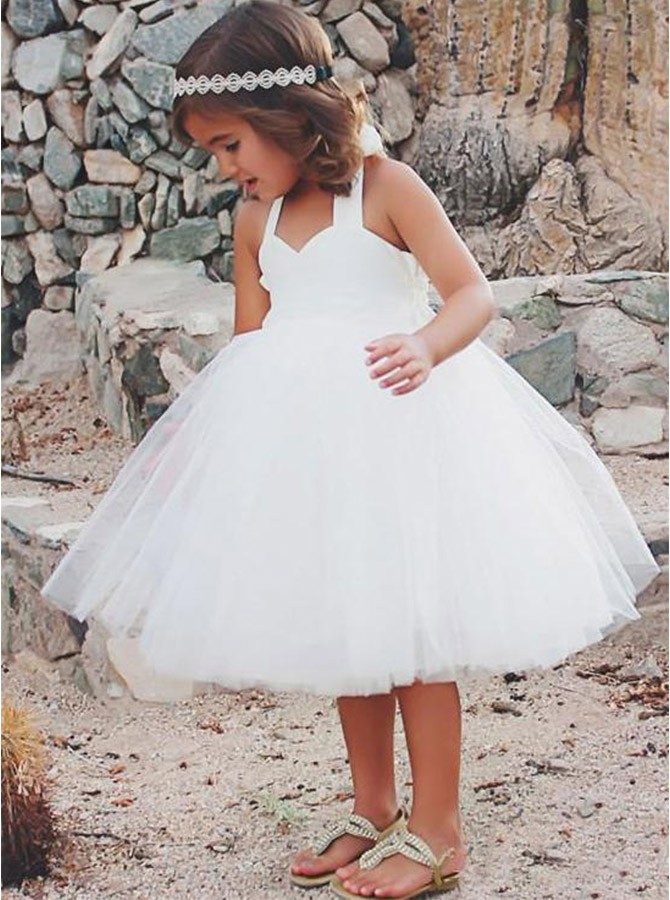 Ball Gown Halter Mid-Calf Tulle Flower Girl Dress