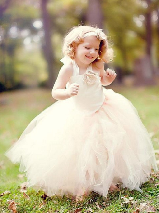 Ball Gown Halter Floor Lengh Tulle Flower Girl Dress