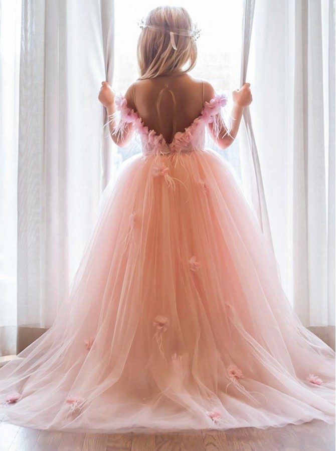 Ball Gown Jewel Sweep Train Tulle Flower Girl Dress