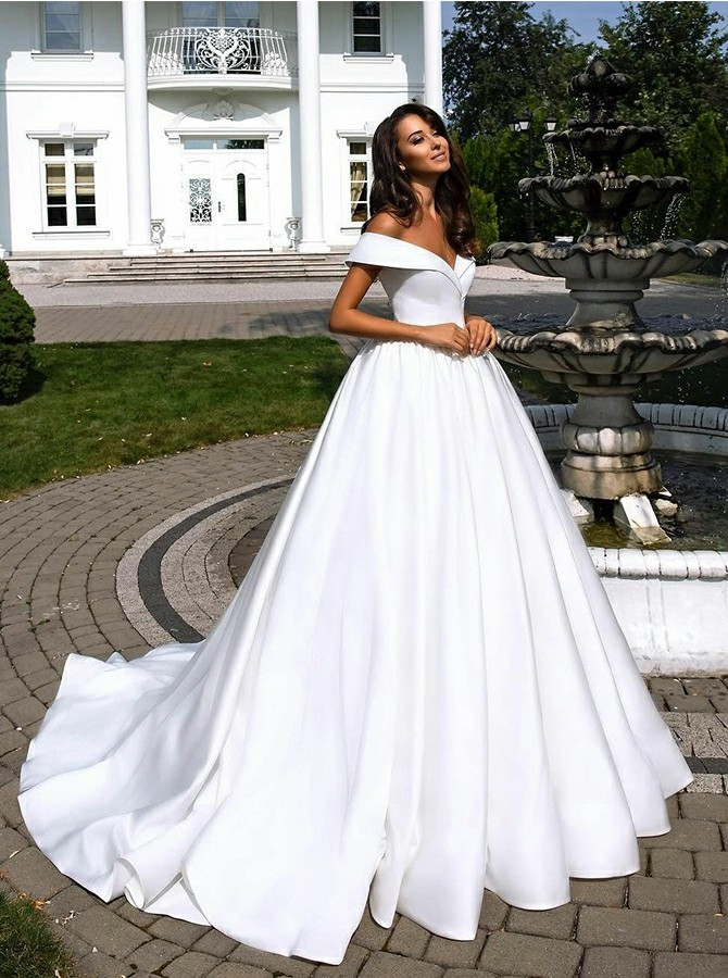 Ball Gown Off-the-Shoulder Court Train White Wedding Dress