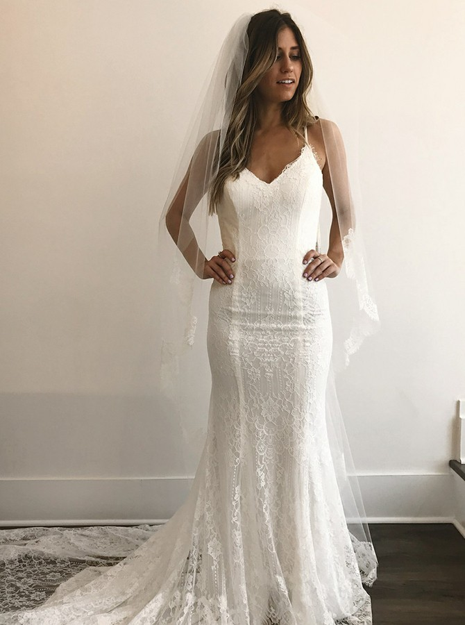Mermaid Spaghetti Straps Court Train White Lace Wedding Dress