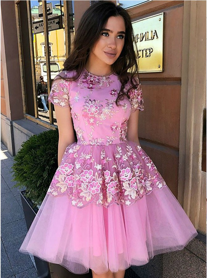 A-Line Jewel Lace Appliques Short Fuchsia Tulle Homecoming Dress