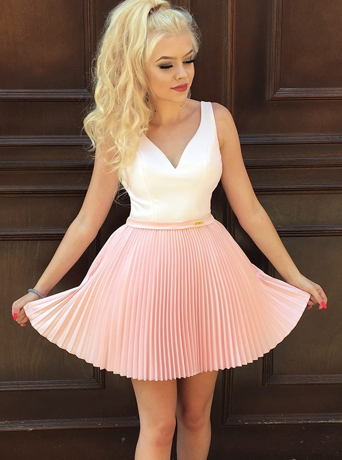 A-Line V-Neck Short Pink Homecoming Prom Dress with Pleats Beading