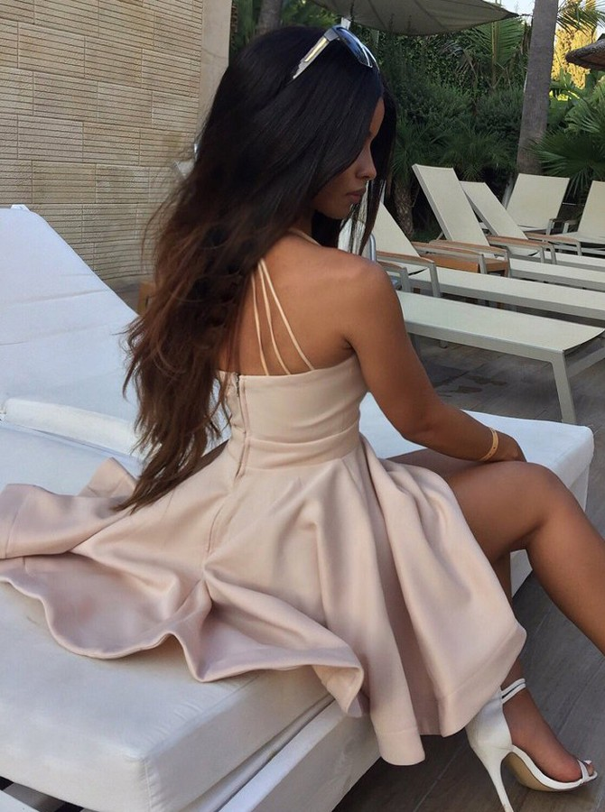A-Line Deep V-Neck Short Pearl Pink Satin Homecoming Cocktail Dress