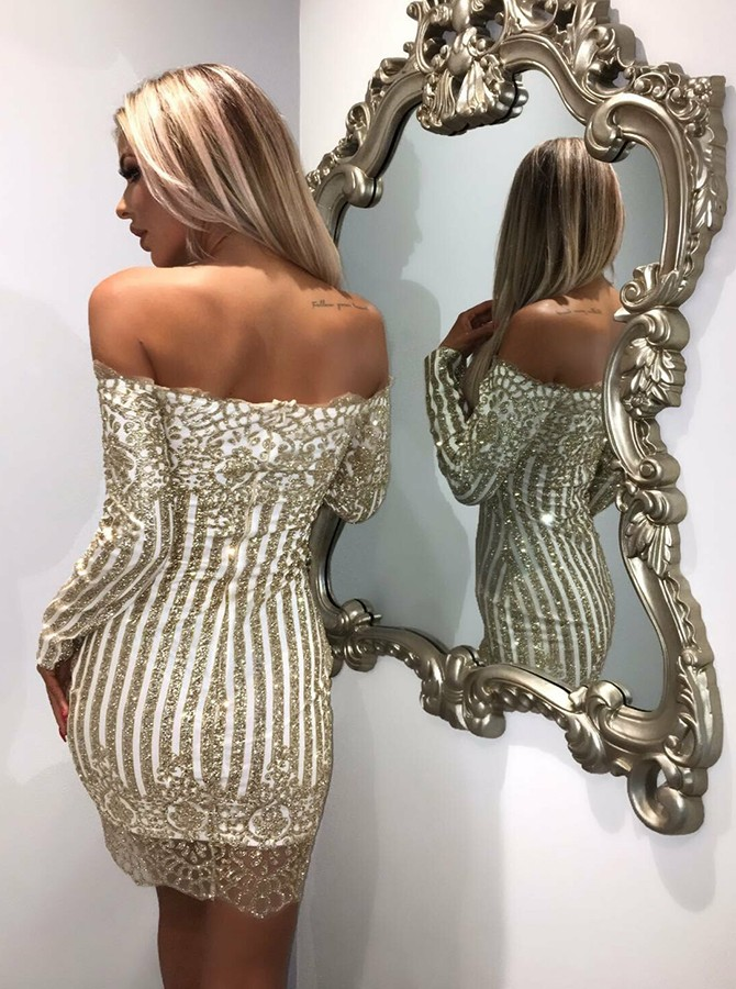Sheath Off-the-Shoulder Long Sleeves Champagne Cocktail Dress