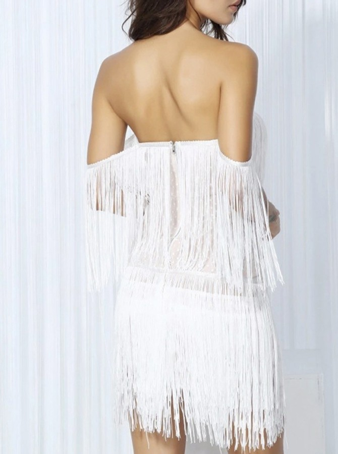 Sheath Off-the-Shoulder Backless Cocktail Dress with Tassel
