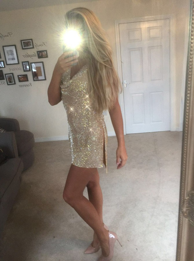 Sheath Halter Sequined Gold Backless Cocktail Dress with Split