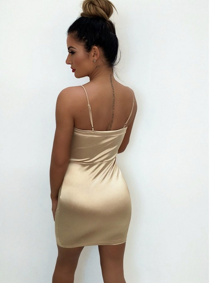 Sheath Spaghetti Straps Short Champagne Cocktail Dress