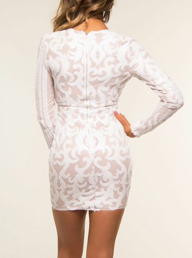 Sheath V-Neck White Lace Long Sleeves Cocktail Dress