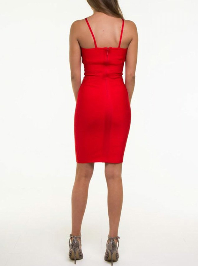 Sheath Spaghetti Straps Knee-Length Red Cocktail Dress