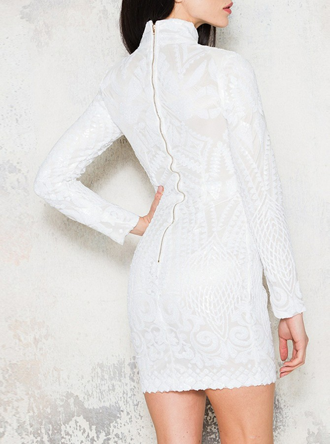Sheath High Neck Long Sleeves White Lace Cocktail Dress