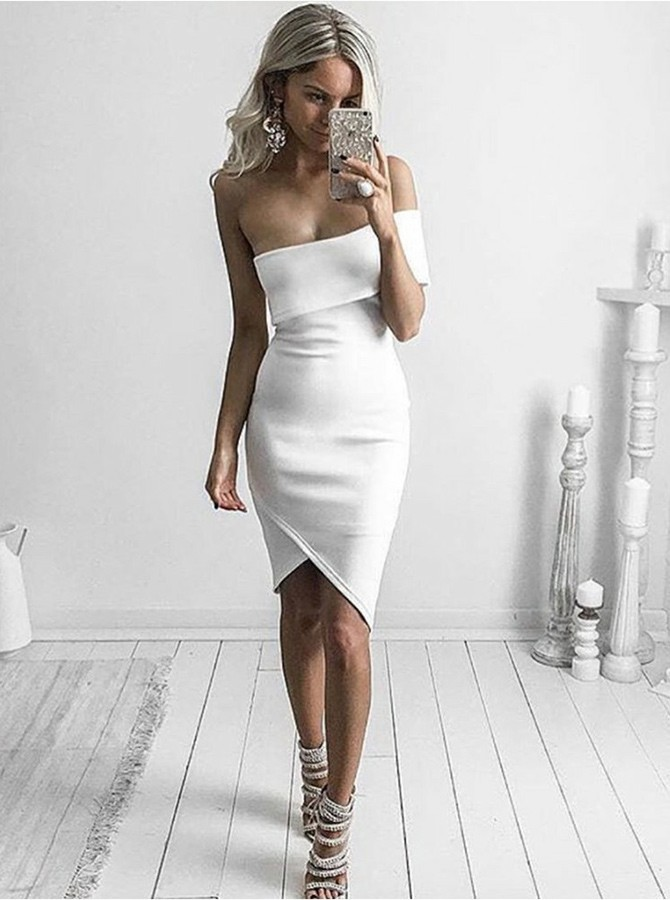Sheath Off-the-Shoulder Knee-Length White Cocktail Dress