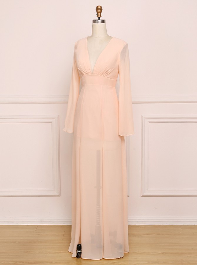 A-Line V-Neck Chiffon Bridesmaid Dress with Split Long Sleeves