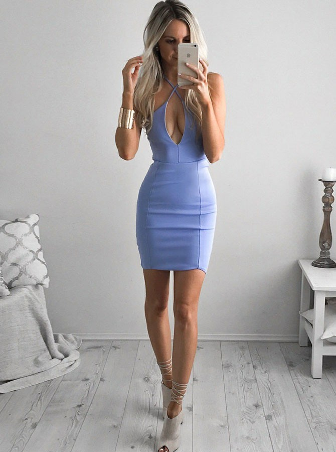 Sheath Cross Neck Backless Short Sky Blue Homecoming Cocktail Dress