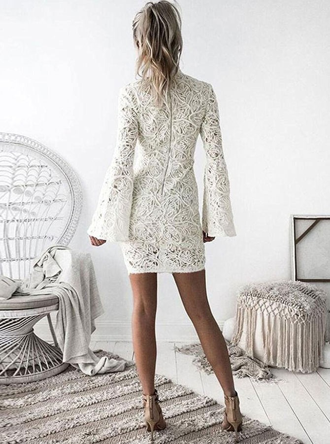 Sheath High Neck Bell Sleeves Short White Lace Homecomoing Dress