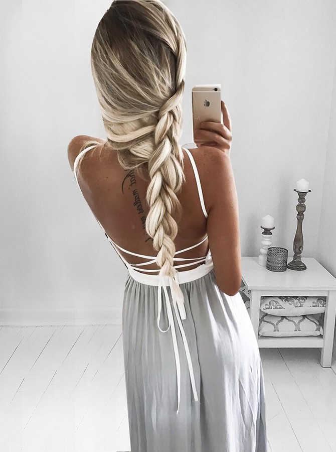 A-Line Spaghetti Straps Backless Long Grey Prom Dress with Split
