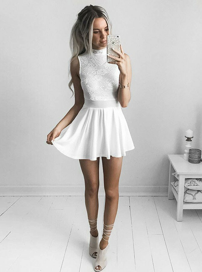 A-Line High Neck Short White Chiffon Homecoming Dress with Lace