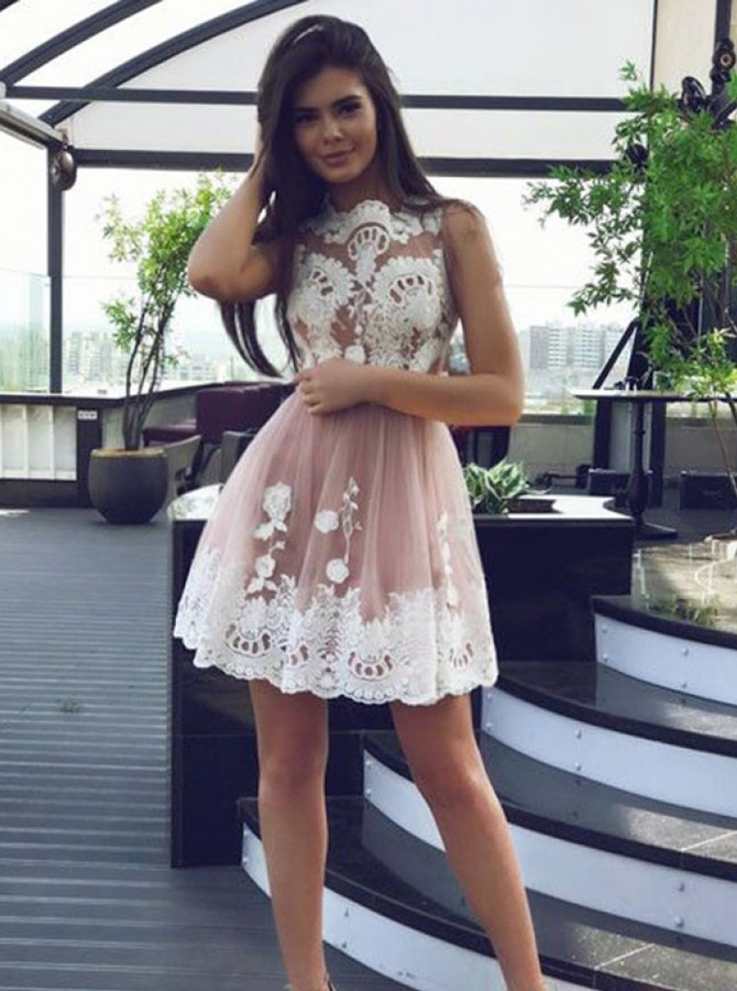 A-Line Jewel Short Pink Homecoming Dress with Appliques