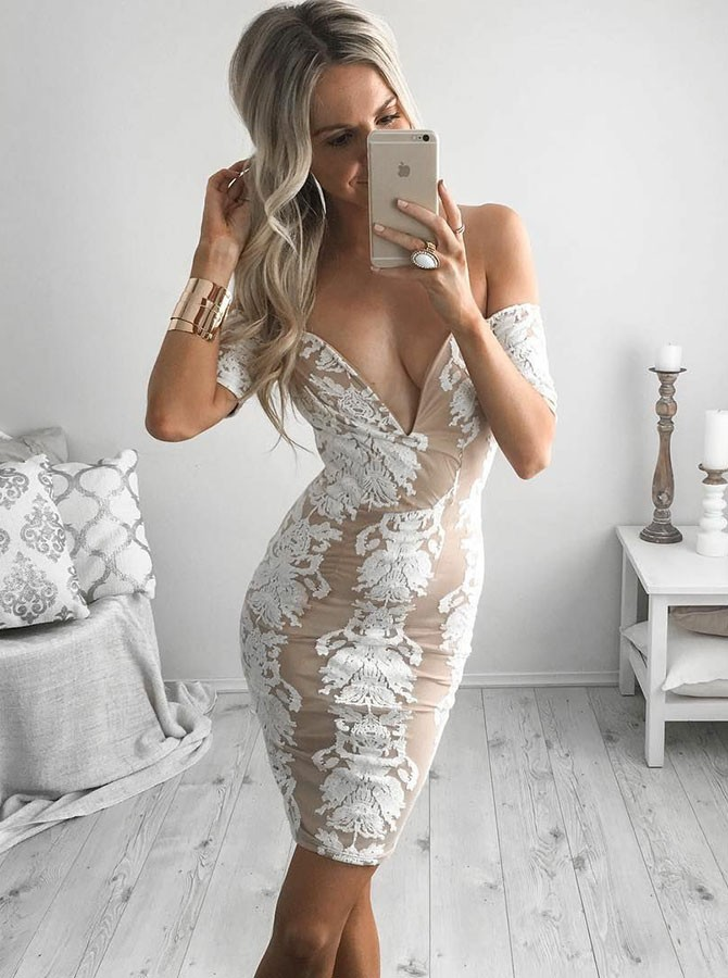 Sheath Off-the-Shoulder Short Sleeves Above-Knee Champagne Homecoming Cocktail Dress