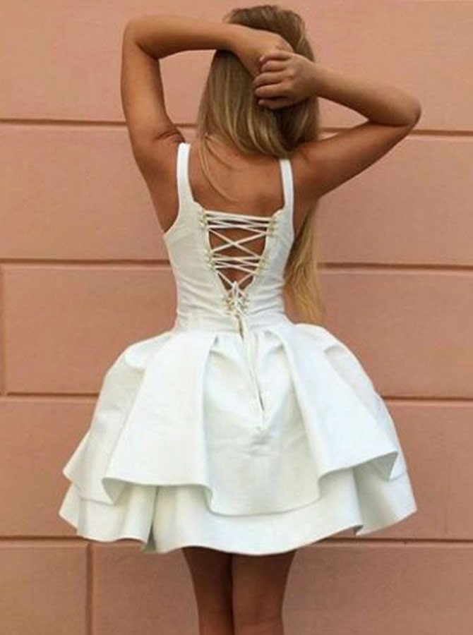 Ball Gown Straps Lace Up Short White Tiered Satin Homecoming Dress