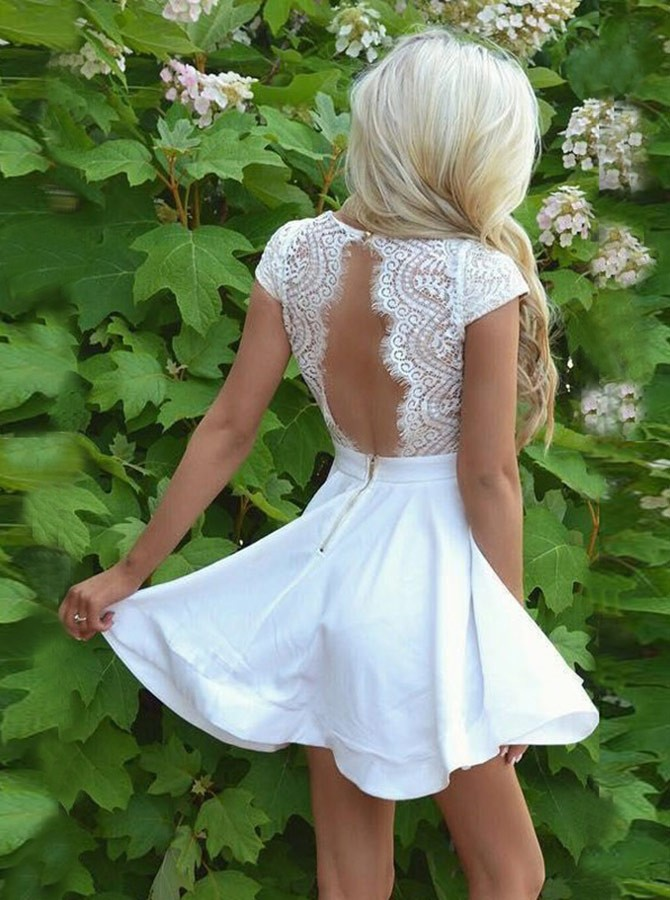 A-Line V-Neck Cap Sleeves Open Back White Short Homecoming Dress with Lace