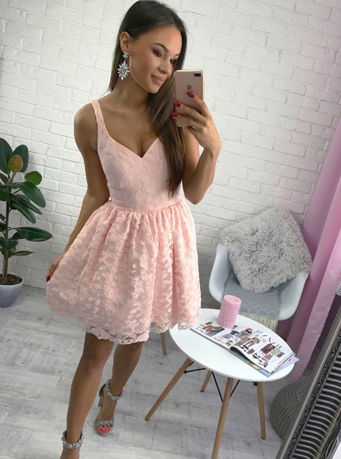 A-Line V-Neck Short Pearl Pink Lace Homecoming Dress