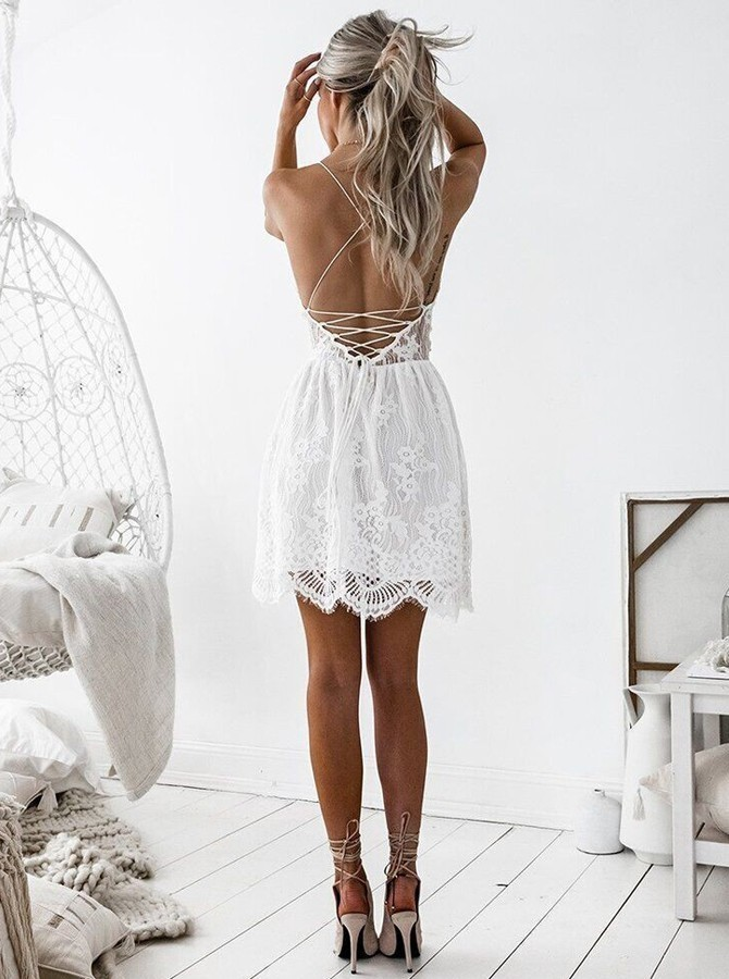 A-Line Spaghetti Straps Lace Up Short White Lace Homecoming Dress