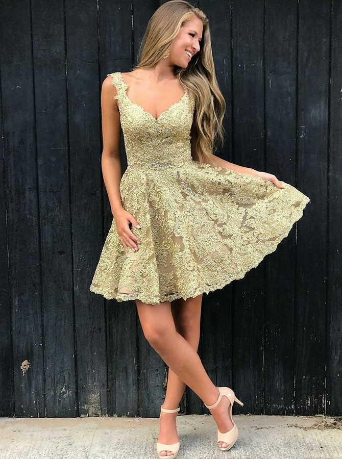 A-Line Straps Backless Above-Knee Champagne Lace Prom Homecoming Dress
