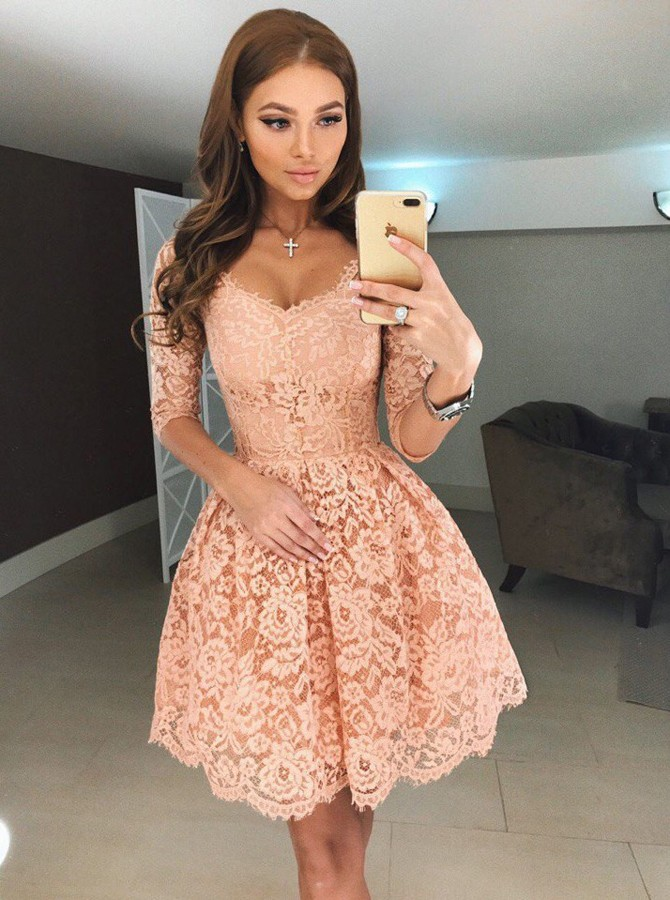 A-Line Scoop Half Sleeves Short Apricot Lace Homecoming Dress