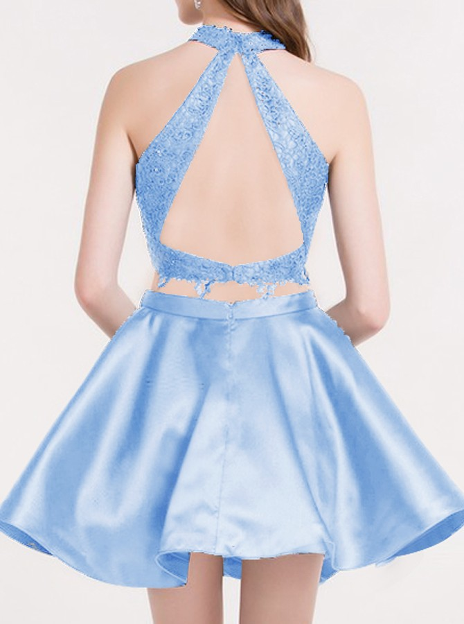 Two Piece Jewel Open Back Blue Homecoming Dress with Lace