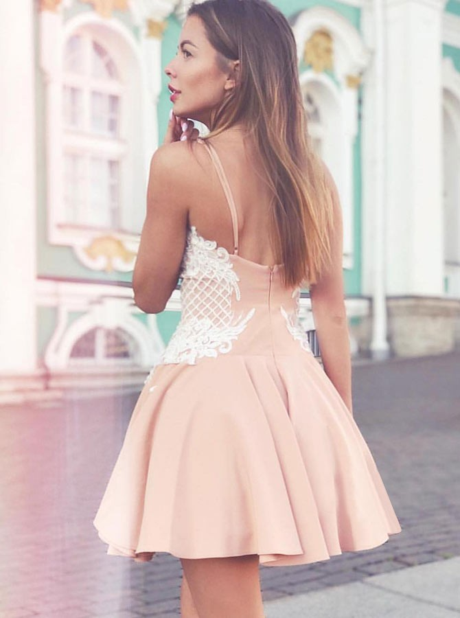 A-Line Spaghetti Straps Short Champagne Homecoming Dress with Appliques