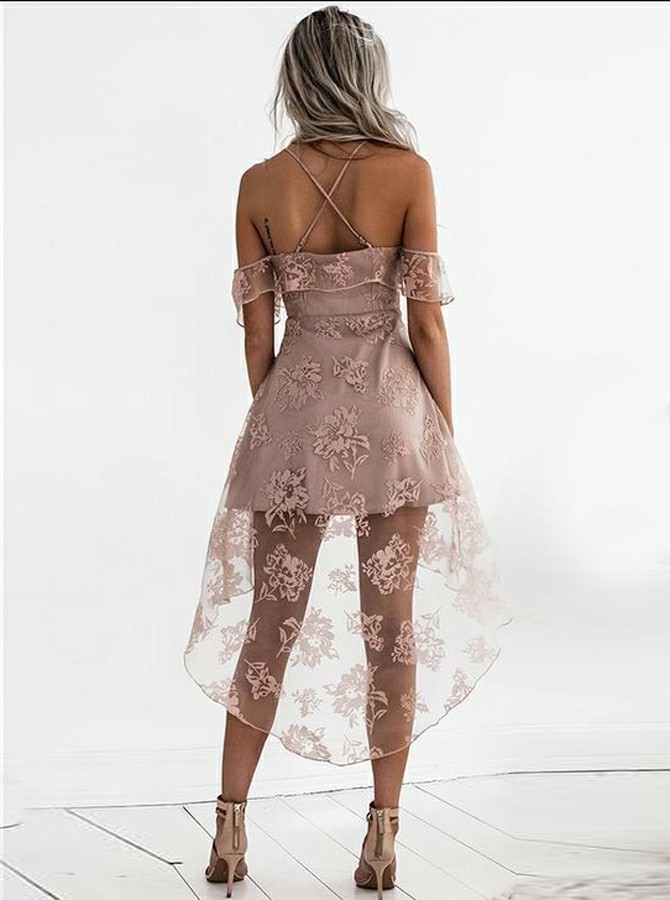 A-Line Spaghetti Straps High Low Blush Lace Homecoming Dress with Ruffles